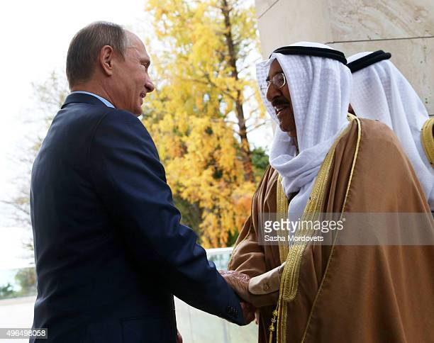 Russian President Vladimir Putin greets Emir of Kuwait Sabah AlAhmad AlJaber AlSabah in Bocharov Ruchey State Residence on November 10 in Sochi...