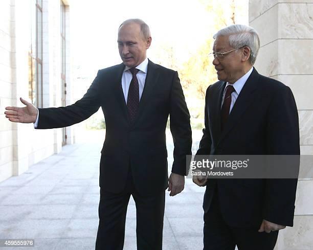 Russian President Vladimir Putin greets General Secretary of Vienam's Communist Party Nguyen Phu Trong on November 25, 2014 in Sochi, Russia. Leader...
