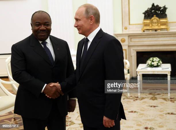 Russian President Vladimir Putin greets President of Gabon Ali Bongo Ondimba during their talks at the Kremlin in Moscow Russia July2018 President of...