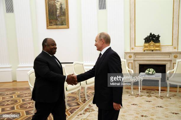 Russian President Vladimir Putin greets President of Gabon Ali Bongo Ondimba during their talks at the Kremlin in Moscow Russia July2018 President of...