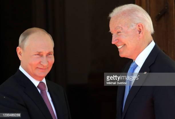 Russian President Vladimir Putin greets President of USA Joe Biden during the US - Russia Summit 2021 at the La Grange Villa near the Geneva Lake, on...