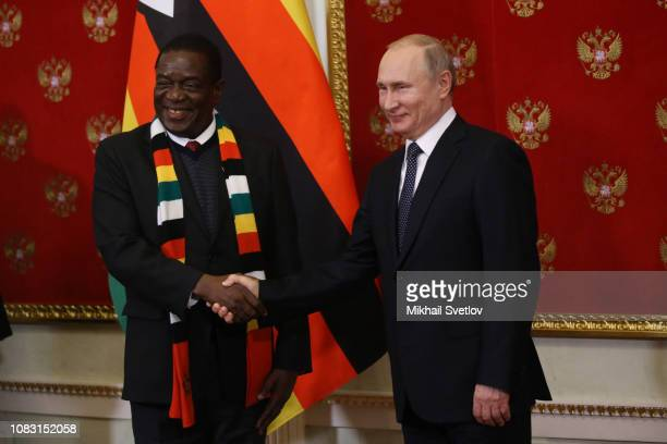 Russian President Vladimir Putin greets President of Zimbabwe Emmerson Mnangagwa during their meeting in Moscow, Russia, January 2019. Zimbabwe's...