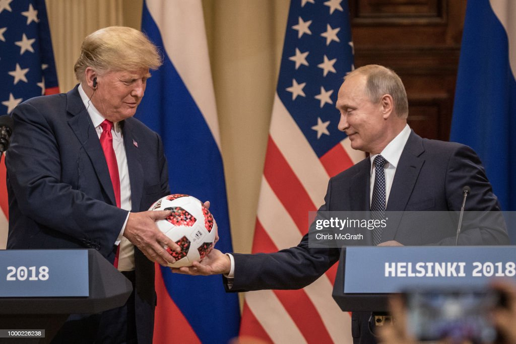 President Trump And President Putin Hold A Joint Press Conference After Summit : News Photo