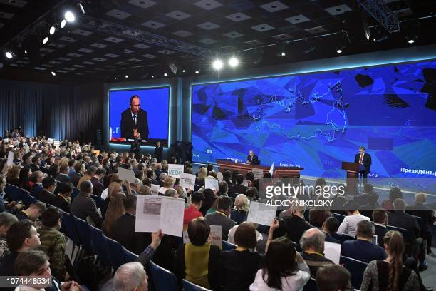 Russian President Vladimir Putin holds his annual press conference in Moscow on December 20 2018