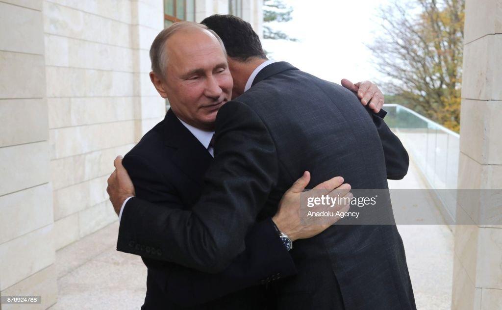 President of Russia Putin meets with Syrian President Bashar al-Assad : News Photo