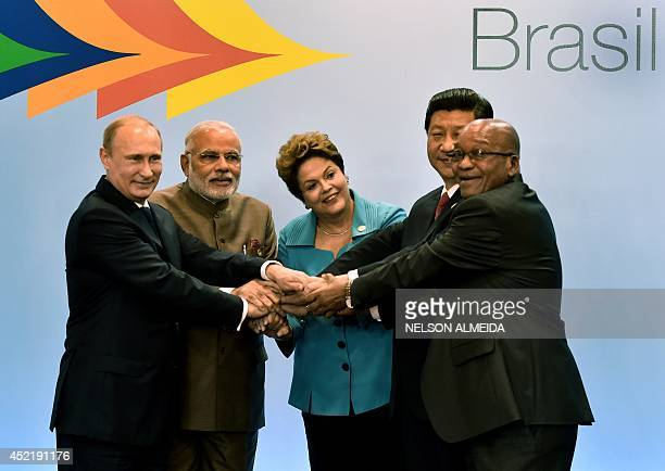 Russian President Vladimir Putin India's PM Narendra Modi Brazilian President Dilma Rousseff China's President Xi Jinping and South Africa's Jacob...