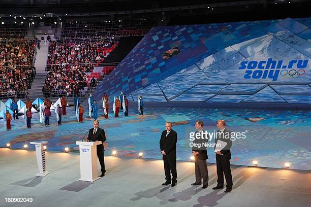 Russian president Vladimir Putin IOC president Jacques Rogge IOC Member JeanClaude Killy and president ANO 'Organizing Committee 'Sochi 2014' Dmitry...