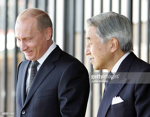 Russian President Vladimir Putin is led by Japanese Emperor Akihito upon his departure at the Imperial Palace on November 22, 2005 in Tokyo, Japan....