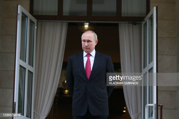 Russian President Vladimir Putin is seen at the Bocharov Ruchei state residence after a meeting with his Turkish counterpart in Sochi on September...