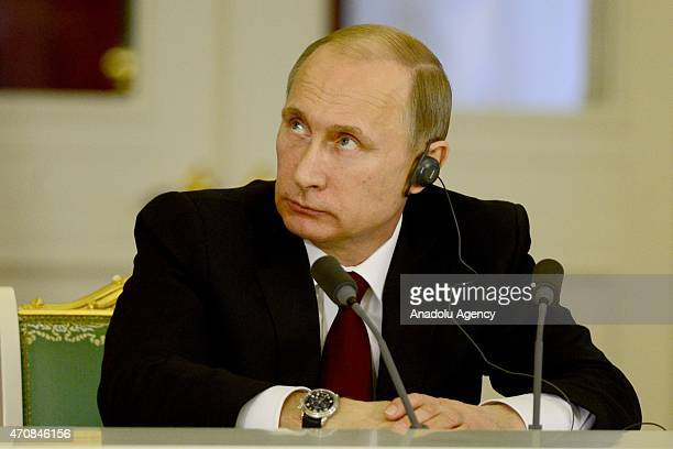 Russian President Vladimir Putin is seen during a joint press conference with Argentine President Cristina Fernandez de Kirchner at the Kremlin in...