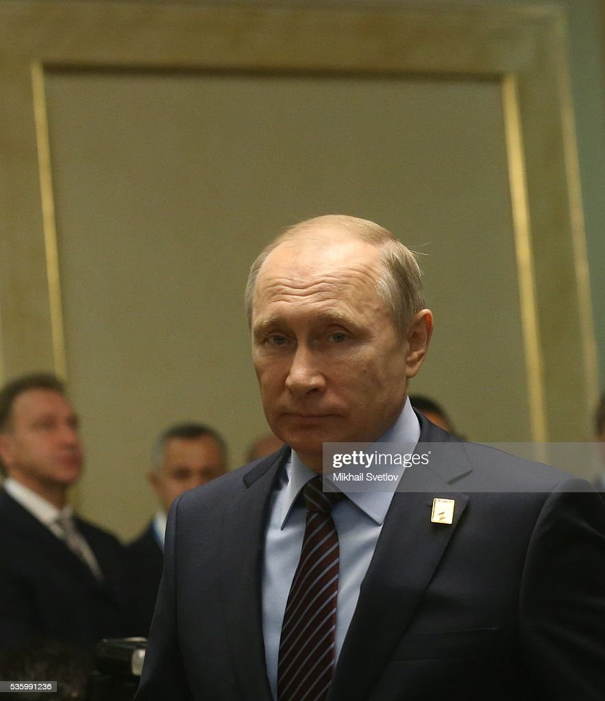 ASTANA, KAZAKHSTAN - MAY, 31 (RUSSIA OUT) Russian President Vladimir Putin is seen during the Eurasian Economic Union Summit at Akorda Palace on May 31, 2016 in Astana, Kazakhstan. Heads of the Eurasian Economic Union (EAEU) member states Russia, Belarus, Armenia, Kazakhstan and Kyrgyzstan have gathered in Astana for the summit. President Putin will also hold talks with Kazakh President Nursultan Nazarbayev.