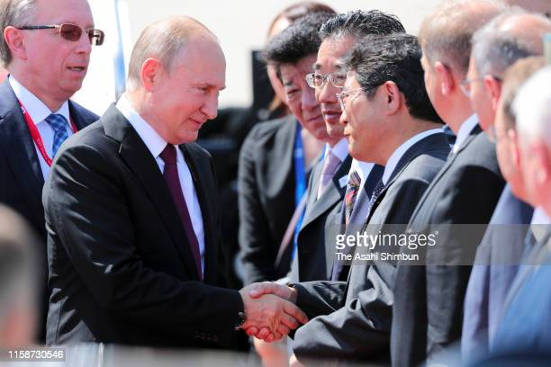 Russian President Vladimir Putin is seen on arrival at the Kansai International Airport on the first day of the G20 summit on June 28 2019 in...