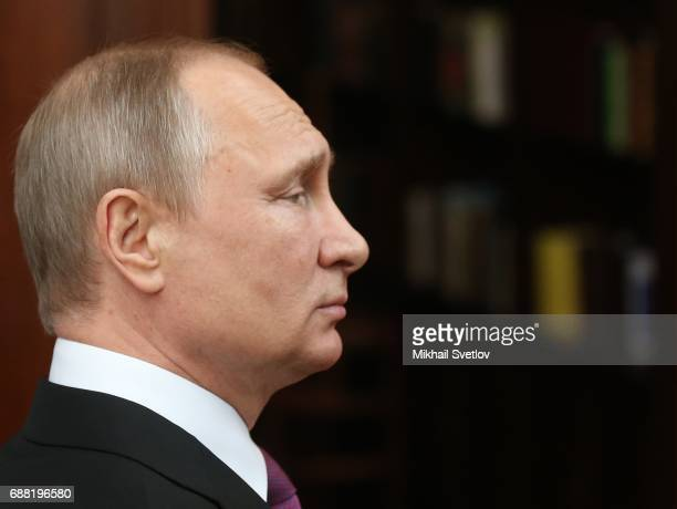 Russian President Vladimir Putin is seen while visiting the Sretensky Monastery on May 25 2017in Moscow Russia Newly built temple of the Ressurection...