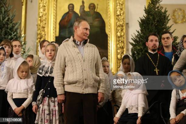 Russian President Vladimir Putin is taking part in the Mass marking the Russian Orthodox Christmas at the Transfiguraton Cathedral January 7 2020 in...