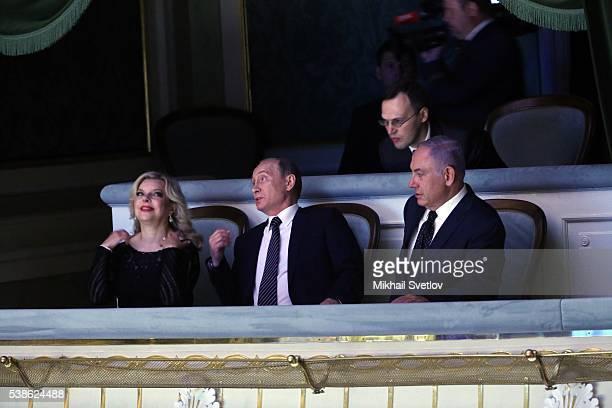 MOSCOW RUSSIA JUNE 7 Russian President Vladimir Putin Israeli Prime Minister Benjamin Netanyahu and his wife Sara Netanyahu visit the Bolshoi Theatre...