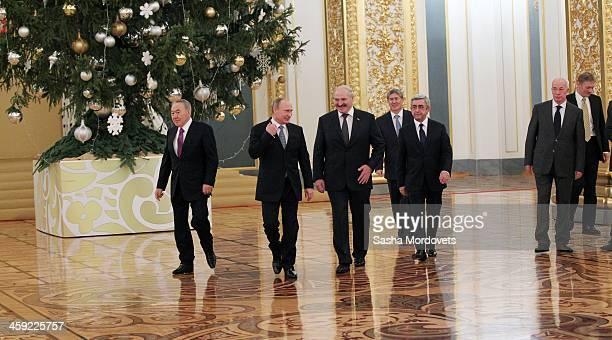 Russian President Vladimir Putin Kazakh President Nursultan Nazarbayev Belarusian President Alexander Lukashenko Kyrgyz President Almazbek Atambayev...