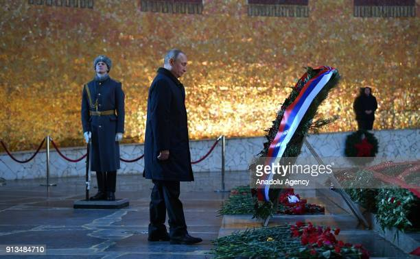Russian President Vladimir Putin lays a wreath in the Hall of Military Glory of the Mamayev Kurgan memorial complex commemorating the Battle of...