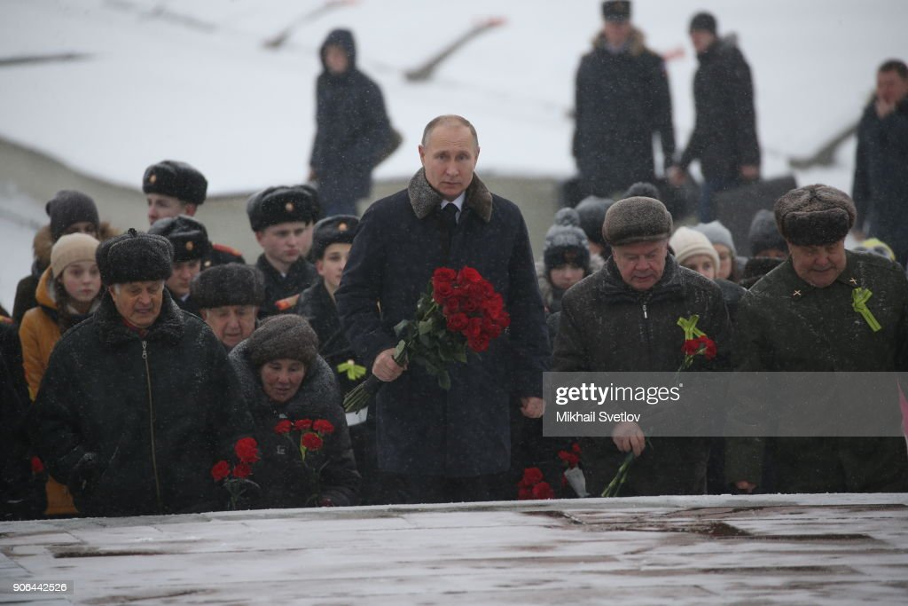 Russian President Vladimir Putin mark the 75-th Anniversary of the break of Nazi's siege of Leningrad : News Photo
