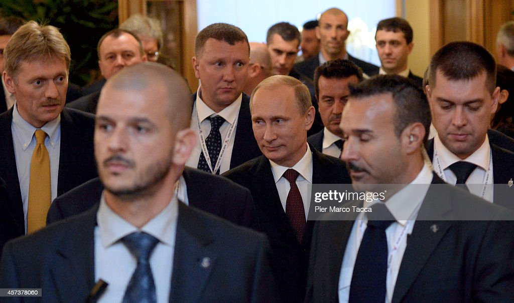 Russian President Vladimir Putin leaves the Westin Hotel after the bilateral meeting with the Prime Minister of Ukraina Petro Oleksijovyc Porosenko at the end of 10 ASEM Summit with 50 Heads Of State From Europe And Asia on October 17, 2014 in Milan, Italy.The Asia-Europe Meeting (ASEM) was initiated in 1996 when the ASEM leaders met in Bangkok, Thailand. ASEM is an informal trans-regional platform for dialogue and cooperation between Asia and Europe