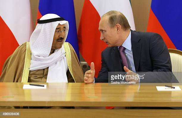 Russian President Vladimir Putin listens to Emir of Kuwait Sabah AlAhmad AlJaber AlSabah in Bocharov Ruchey State Residence on November 10 2015 in...