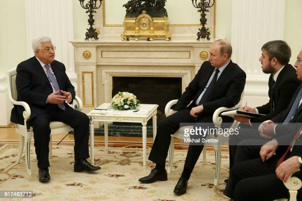 Russian President Vladimir Putin listens to Palestinan President Mahmoud Abbas during a meeting at the Kremlin February 12 2018 in Moscow Russia