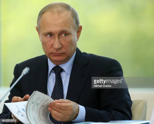 Russian President Vladimir Putin looks on during the State Council meeting at the Eastern Economic Fourm on September 6 2017 in Vladivostok Russia...