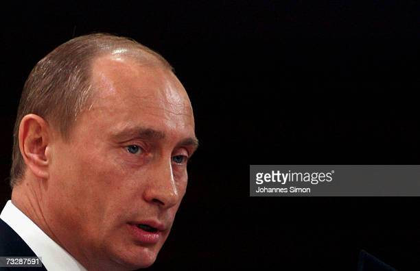 Russian President Vladimir Putin makes a speech during the 43rd Conference on Security Policy 2007 at the Bayerischer Hof Hotel on February 10 in...