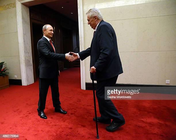 Russian President Vladimir Putin meets Czech President Milos Zeman during their bilateral meeting, September 3, 2015 in Beijing, China. Putin has...