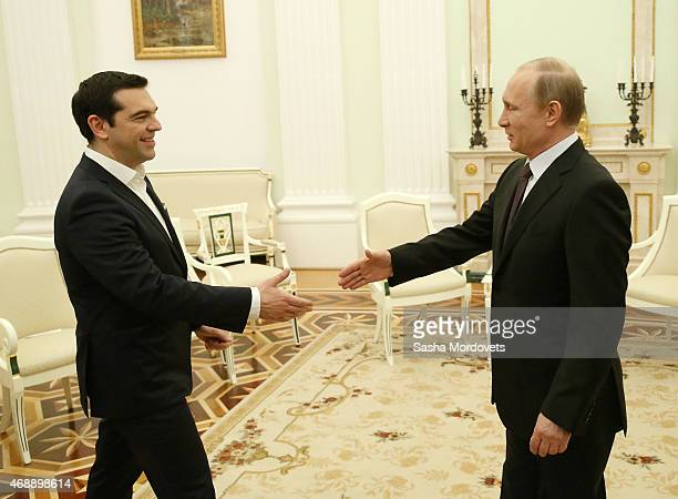 Russian President Vladimir Putin meets Greek Prime Minister Alexis Tsipras at the Kremlin on April 8 2015 in Moscow Russia Tsipras is on a twoday...
