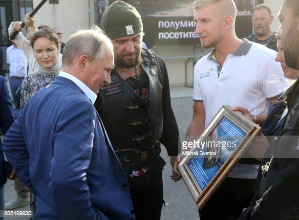 Russian President Vladimir Putin meets Night Wolves Bikers Club President Alexander Zaldostanov also known as 'Khirurg' on August 18 2017 on...