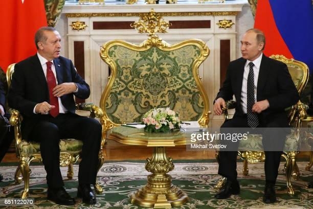 Russian President Vladimir Putin meets Turkish President Recep Tayyip Erdogan during talks at the Kremlin on March 10 2017 in Moscow Russia Erdogan...