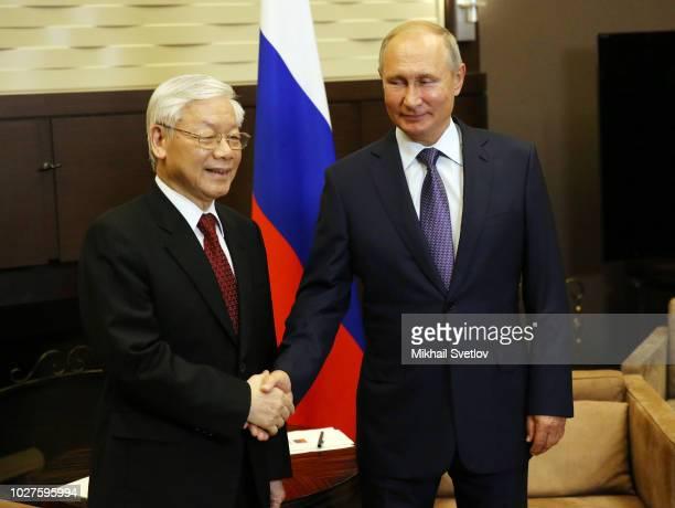 Russian President Vladimir Putin meets Vietnamese Communist Party General Secretary Nguyen Phu Trong on September 6, 2018 in Sochi, Russia. Nguyen...