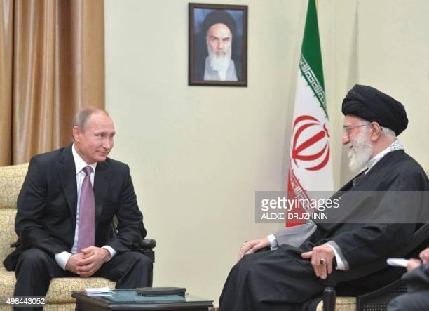 Russian President Vladimir Putin meets with Iran's supreme leader Ayatollah Ali Khamenei in Tehran on November 23 2015 Putin arrived in Tehran for...