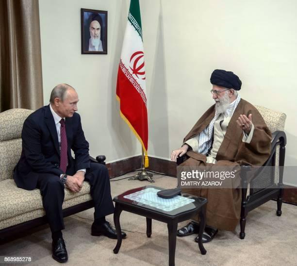 Russian President Vladimir Putin meets with Iran's Supreme Leader Ayatollah Ali Khamenei in Tehran on November 1 2017 / AFP PHOTO / SPUTNIK / Dmitry...
