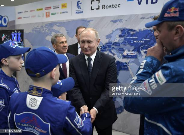Russian President Vladimir Putin meets with KamazMaster team members in Kazan on February 12 2019
