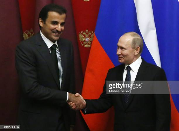Russian President Vladimir Putin meets with Qatar's Emir Sheikh Hamad Al Thani at the Kremlin Russia March 26 2018 Emir of Qatar is on a work visit...