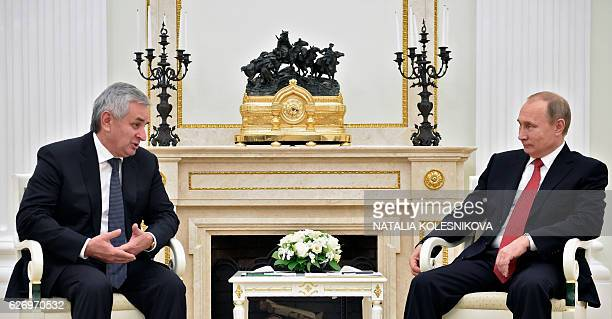 Russian President Vladimir Putin meets with Raul Khadzhimba the leader of Georgia's breakaway region of Abkhazia at the Kremlin in Moscow on December...