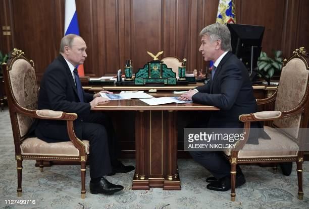 Russian President Vladimir Putin meets with Russian gas producer Novatek chief Leonid Mikhelson in Moscow on February 26 2019