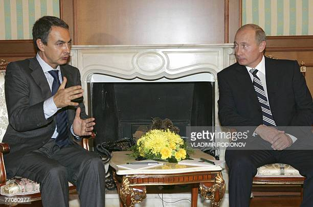 Russian President Vladimir Putin meets with Spanish Prime Minister Jose Luis Rodriguez Zapatero during their meeting in Bocharov Ruchei, the...