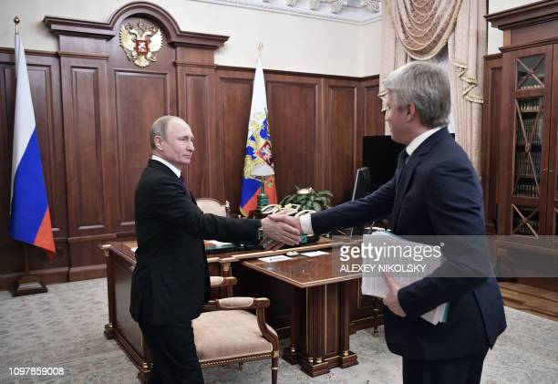 Russian President Vladimir Putin meets with Sports Minister Pavel Kolobkov at the Kremlin in Moscow on February 11 2019