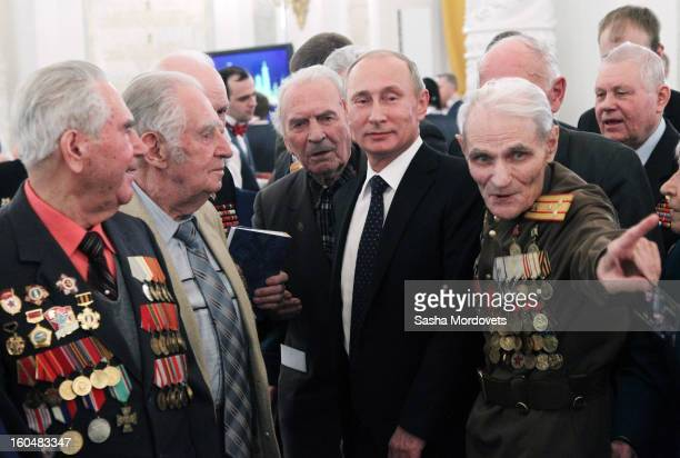 Russian President Vladimir Putin meets with veterans of the Battle of Stalingrad in the Grand Kremlin Palace February2013 in Moscow Russia The...