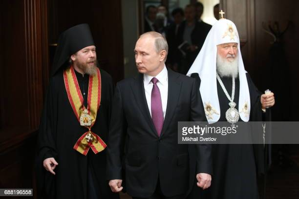 Russian President Vladimir Putin Orthodox Patriarch Kirill and Bishop Tikhon seen while visiting the Sretensky Monastery on May 25 2017in Moscow...