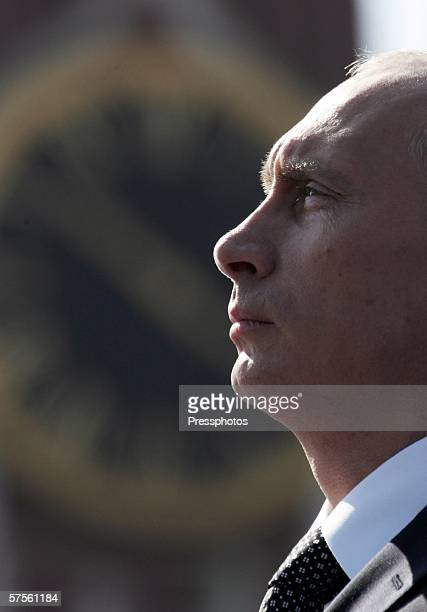 Russian President Vladimir Putin pauses as he speaks at the annual military parade at Red Square May 9 2006 in Moscow Russia Russians are celebrating...