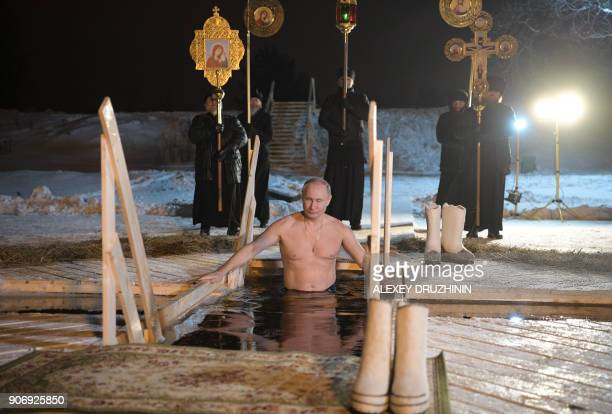 TOPSHOT Russian President Vladimir Putin plunges into the icy waters of lake Seliger during the celebration of the Epiphany holiday in Russia's Tver...