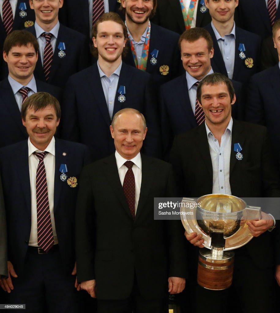 Russian President Vladimir Putin Meets National Ice Hockey Team