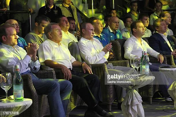 Russian President Vladimir Putin Prime Minister Dmitry Medvedev Ukrainian politician Viktor Medvedchuk and Kazakh President Nursultan Nazarbayev seen...