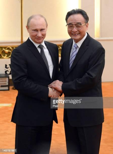 Russian President Vladimir Putin shakes hands with Chinese parliamentary Chairman Wu Bangguo prior to the Shanghai Cooperation Organization Summit at...