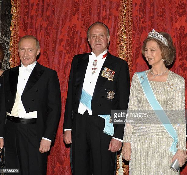 Russian President Vladimir Putin Spain's King Juan Carlos and Queen Sofia attend an official dinner in honour of Russian President Vladimir Putin at...