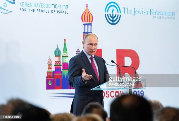 Russian President Vladimir Putin speaks at a conference of the Israeli Keren Hayesod foundation in Moscow on September 17 2019