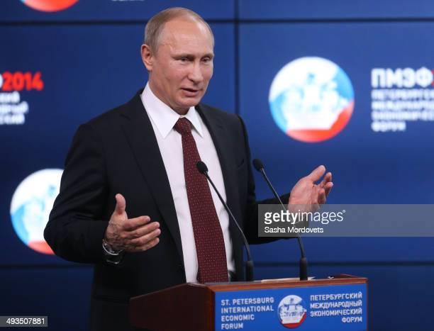 Russian President Vladimir Putin speaks during a conference at the Saint Petersburg International Economic Forum